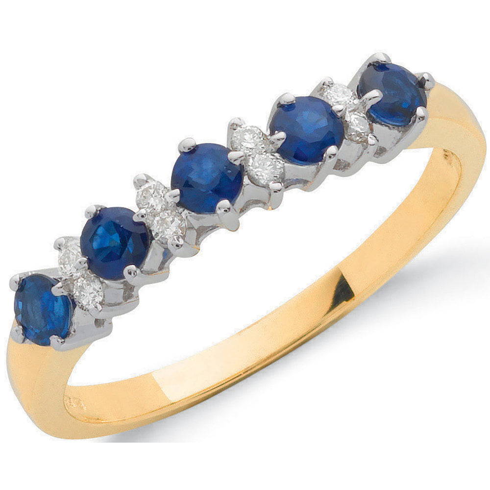 9ct Yellow Gold 0.12ct Diamond & 0.65ct Blue Sapphire Eternity Ring