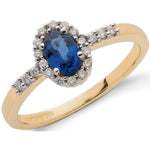 9ct Yellow Gold 0.16ct Diamond & 0.50ct Sapphire Cluster Ring
