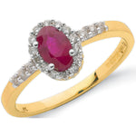 9ct Yellow Gold 0.16ct Diamond & 0.55ct Ruby Cluster Ring