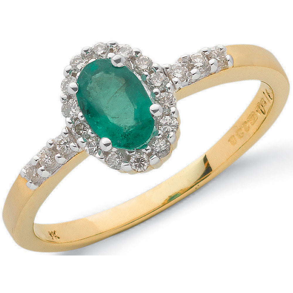 9ct Yellow Gold 0.16ct Diamond & 0.45ct Emerald Cluster Ring