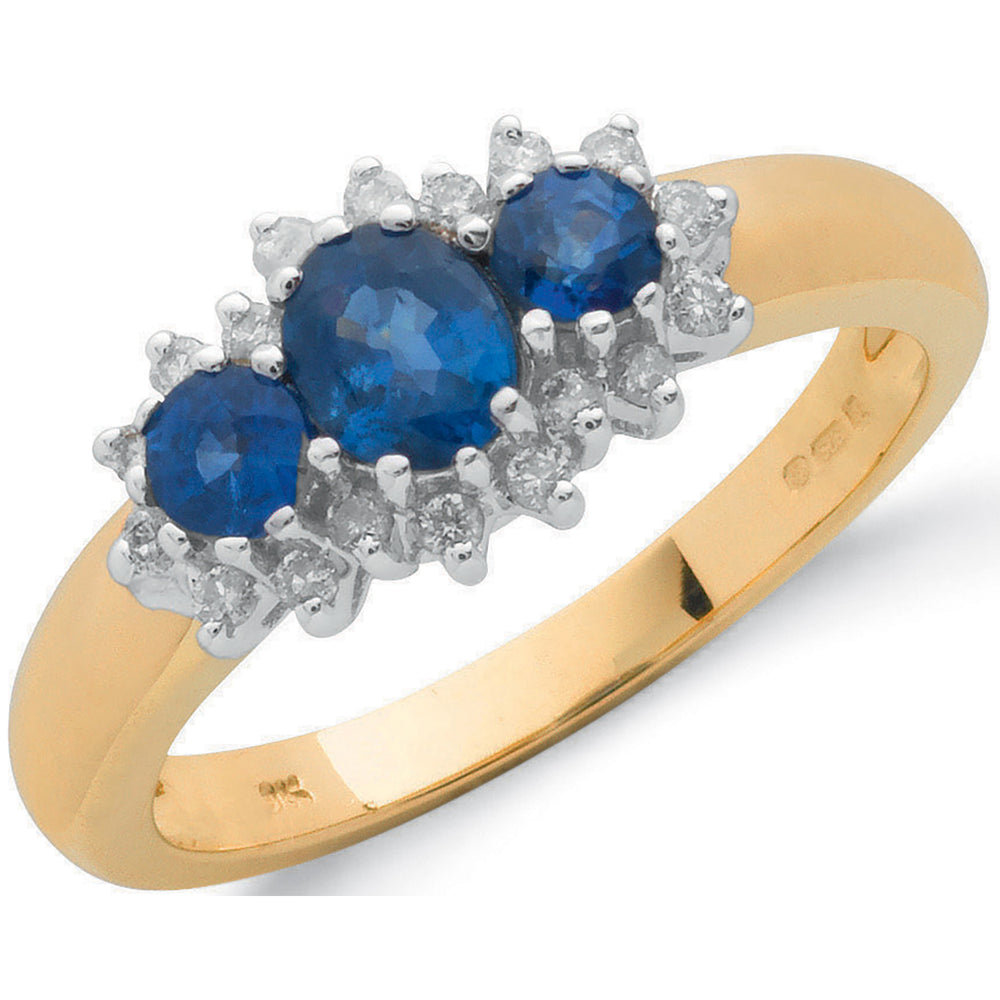 9ct Yellow Gold 0.18ct Diamond & 0.90ct Sapphire Cluster Ring