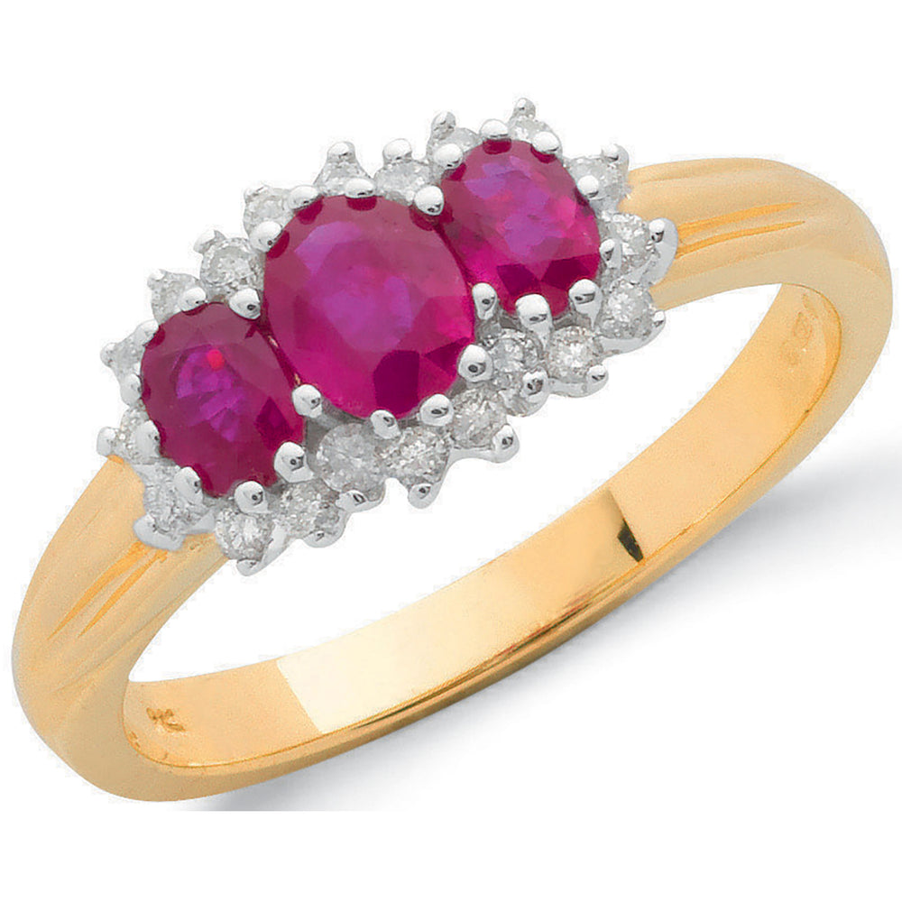 9ct Yellow Gold 0.20ct Diamond & 0.85ct Ruby Cluster Ring