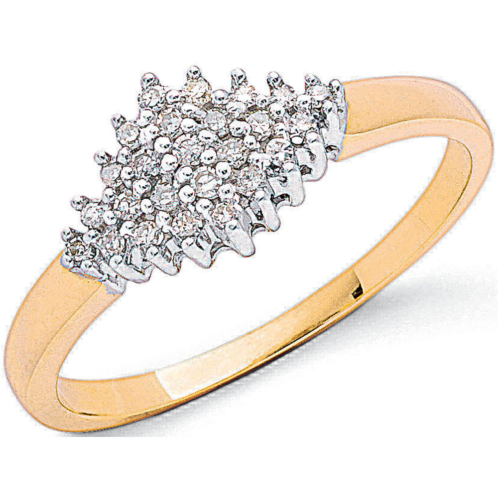 9ct Yellow Gold 0.15ctw Diamond Cluster Ring