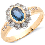 18ct Yellow Gold 0.36ct Diamond & 0.90ct Blue Sapphire Cluster Ring