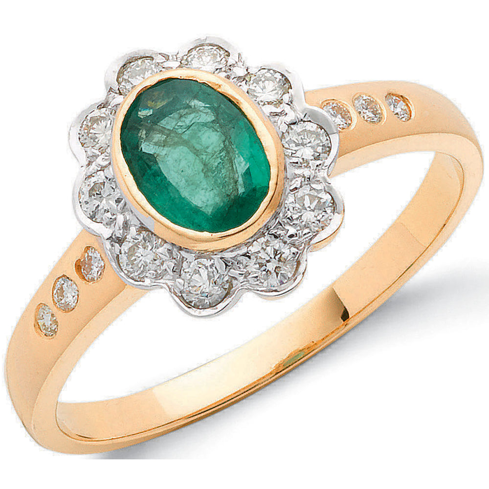 18ct Yellow Gold 0.36ct Diamond & 0.75ct Emerald Cluster Ring