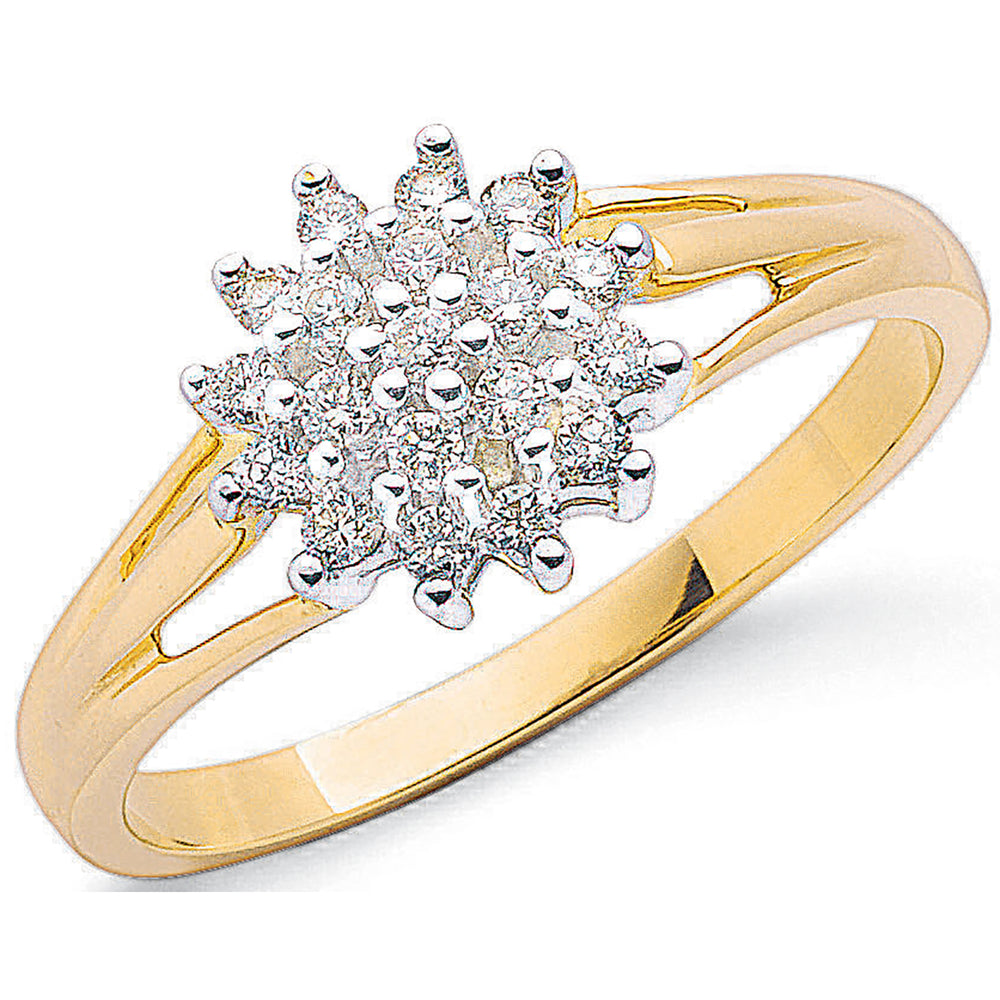 9ct Yellow Gold 0.25ctw Diamond Cluster Ring