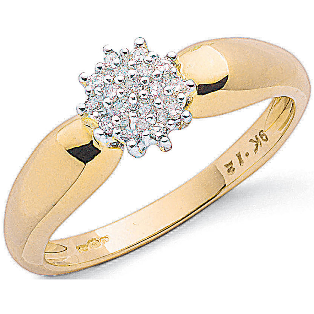 9ct Yellow Gold 0.13ctw Diamond Cluster Ring