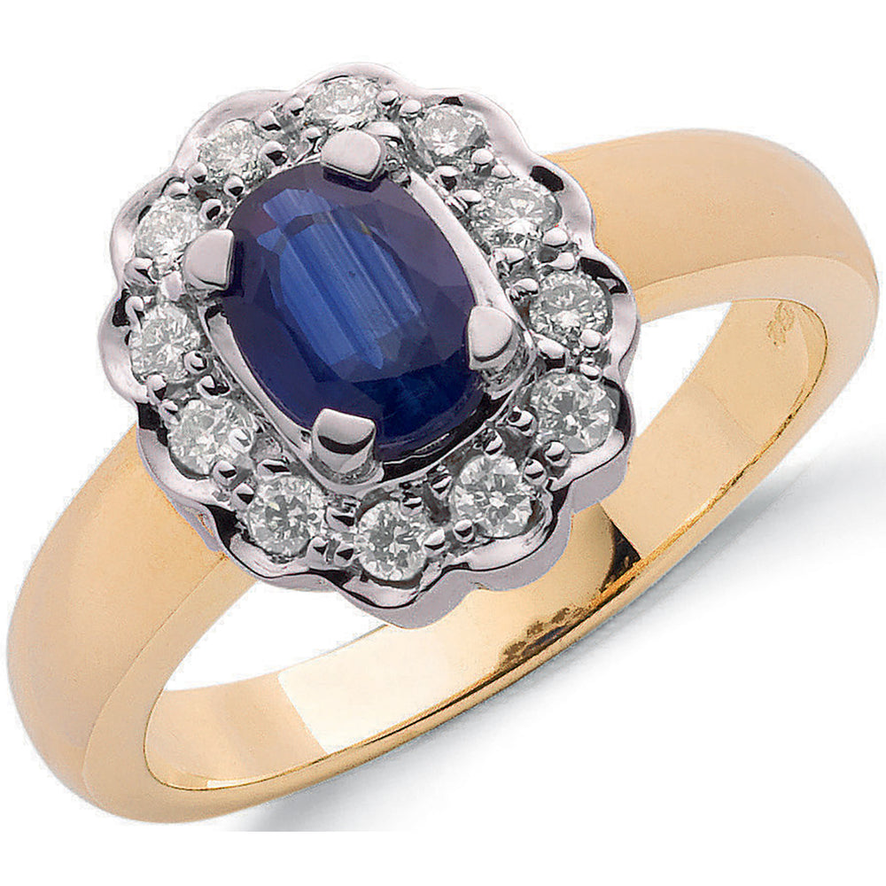 9ct Yellow Gold 0.25ct Diamond & 1.00ct Sapphire Cluster Ring