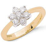 9ct Yellow Gold 0.50ctw Diamond Flower / Cluster Ring