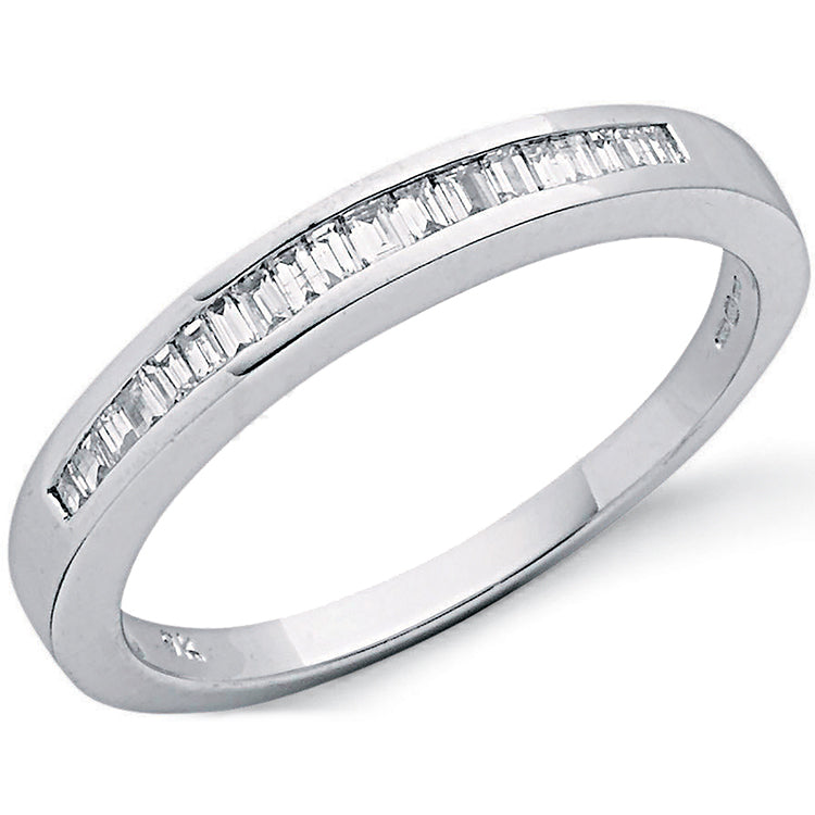 9ct White Gold 0.25ct Baguette Cut Diamond Eternity Ring