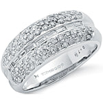 9ct White Gold 0.75ct Baguette Cut Centre Diamond Bombay Ring