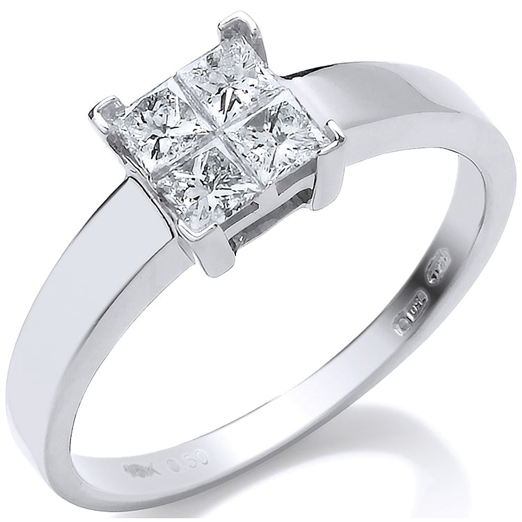 18ct White Gold 0.50ct 4 Stone Princess Cut Diamond Engagement Ring