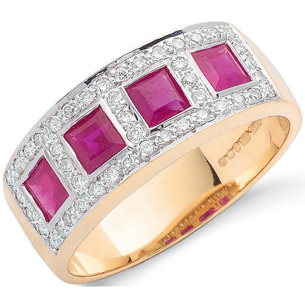 9ct Yellow Gold 0.22ct Diamond & 1.19ct Ruby Eternity Ring