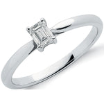 18ct White Gold 0.25ct Emerald Cut Diamond Engagement Ring