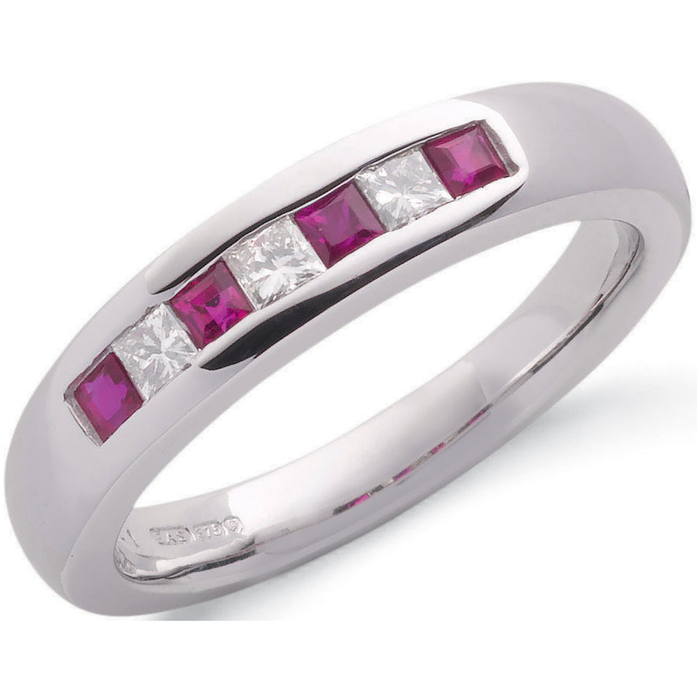9ct White Gold Princess Cut 0.20ct Diamond & 0.35ct Ruby Eternity Ring