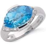 9ct White Gold 0.11ct Diamond & 5.50ct Blue Topaz Ring