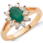 9ct Yellow Gold 0.36ct Diamond & 0.79ct Emerald Cluster Ring