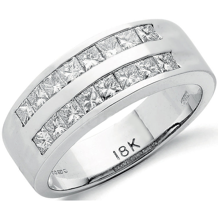 18ct White Gold 1.20ct 2 Row Princess Cut Diamond Eternity Ring