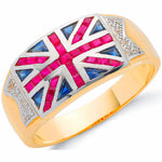 9ct Yellow Gold 0.06ct Diamond 1.48ct Blue Sapphire &1.54ct Ruby Union Jack Ring