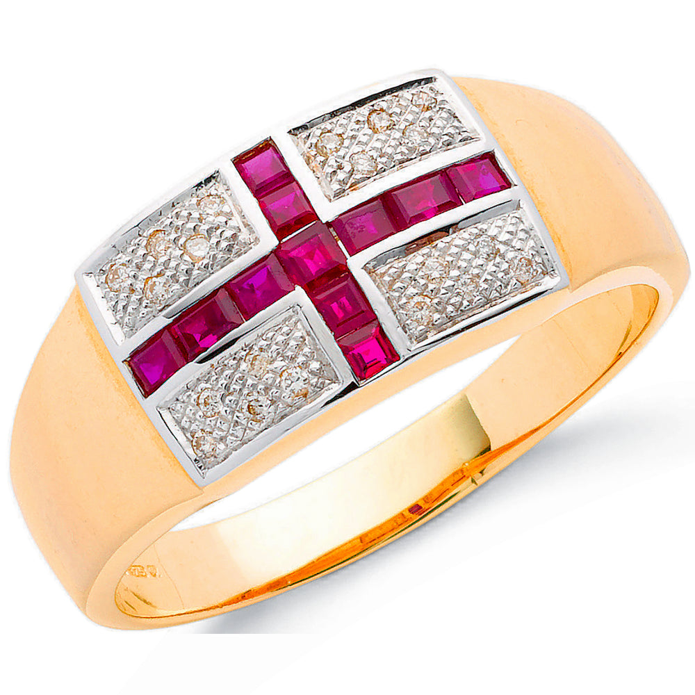 9ct Yellow Gold 0.12ct Diamond & 1.11ct Ruby Saint George Ring