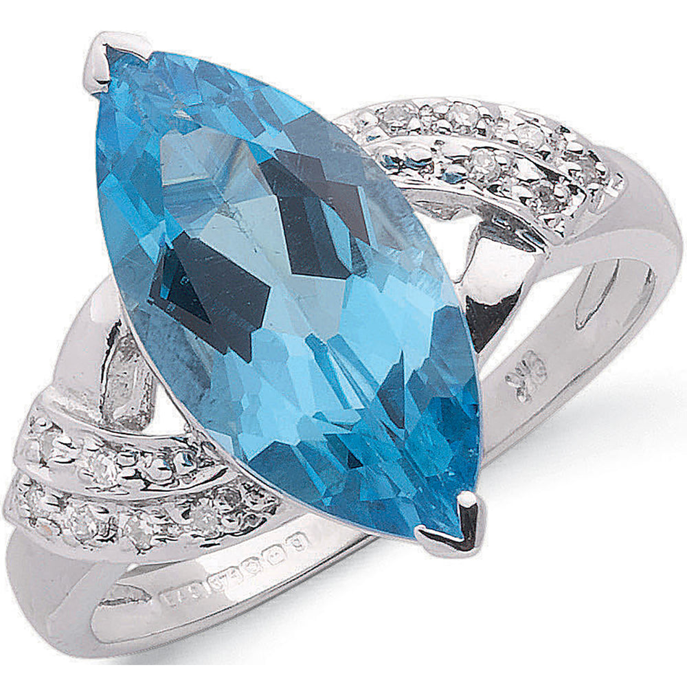 9ct White Gold 0.06ct Diamond & 4.84ct Blue Topaz Ring