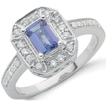 18ct White Gold 0.35ct Diamond & 1.00ct Tanzanite Ring