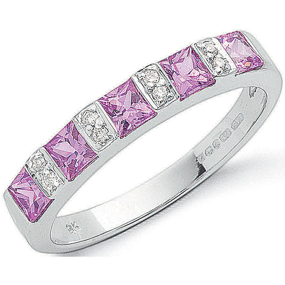 9ct White Gold 0.03ct Diamond & 0.85ct Pink Sapphire Eternity Ring
