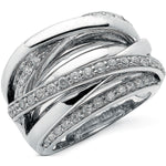 9ct White Gold 1.00ct Diamond Crossover Ring