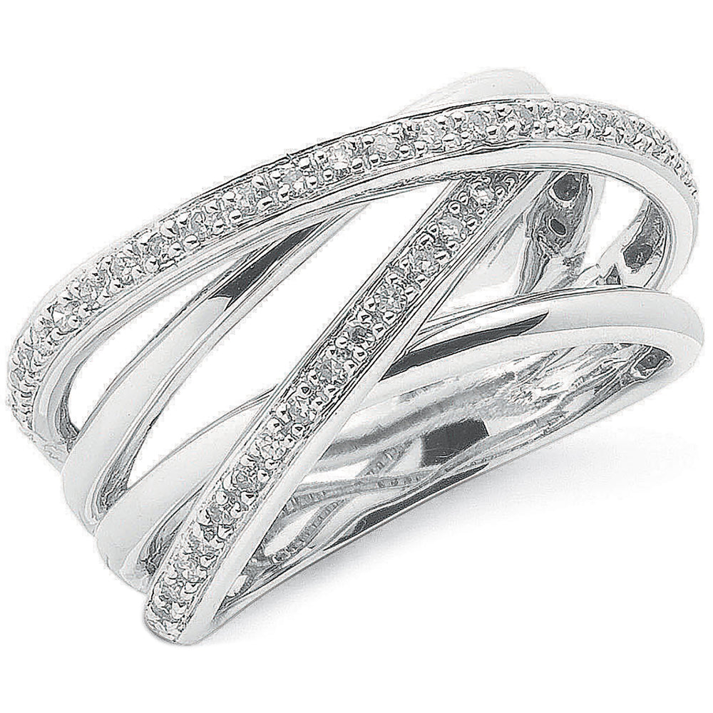 9ct White Gold 0.25ct Diamond Crossover Ring
