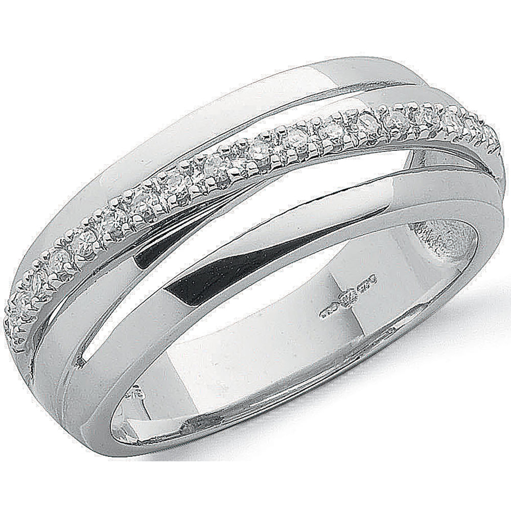 9ct White Gold 0.12ct Diamond Crossover Ring