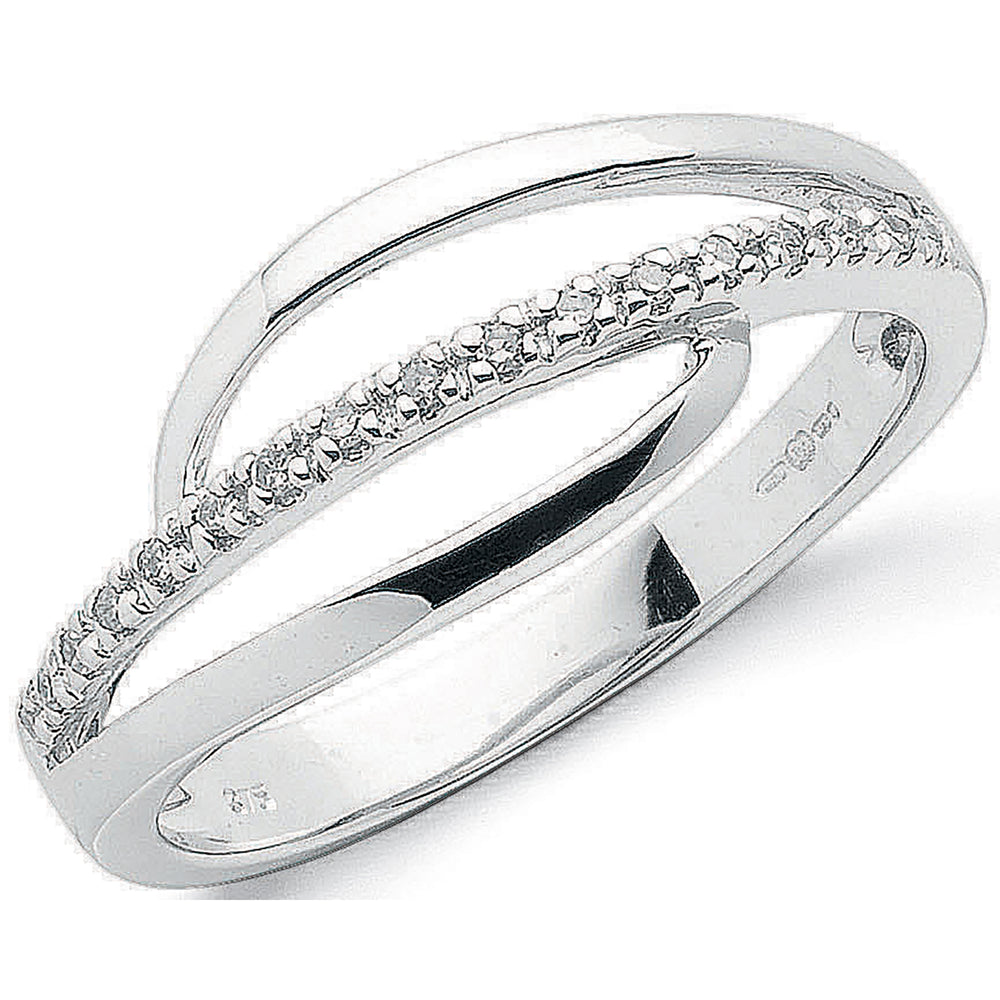 9ct White Gold 0.07ct Diamond Crossover Ring
