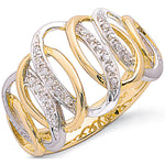 9ct Two Colour Gold 0.09ctw Diamond Ring