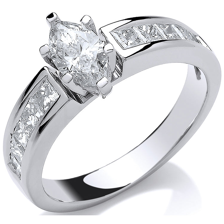 18ct White Gold 1.00ct Marquise & Princess Cut Diamond Engagement Ring