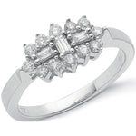 18ct White Gold D.0.50ctw Diamond Boat/Cluster Ring