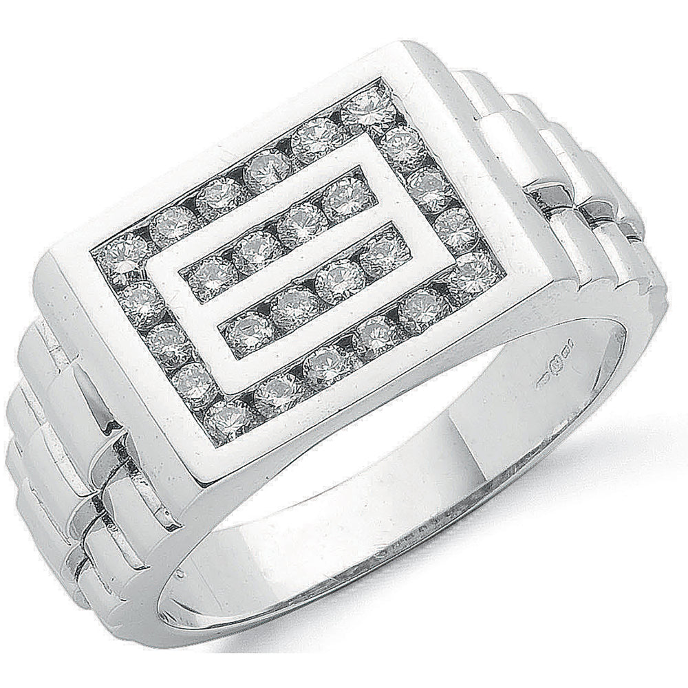 9ct White Gold 0.66ct Gents Diamond Ring