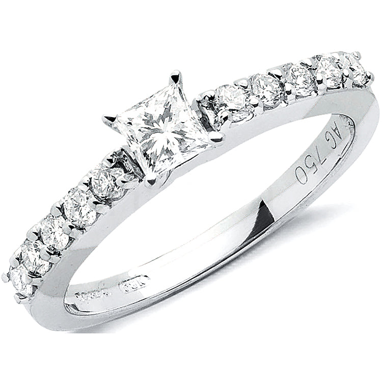 18ct White Gold 0.75ct Princess Cut Centre Diamond Ring