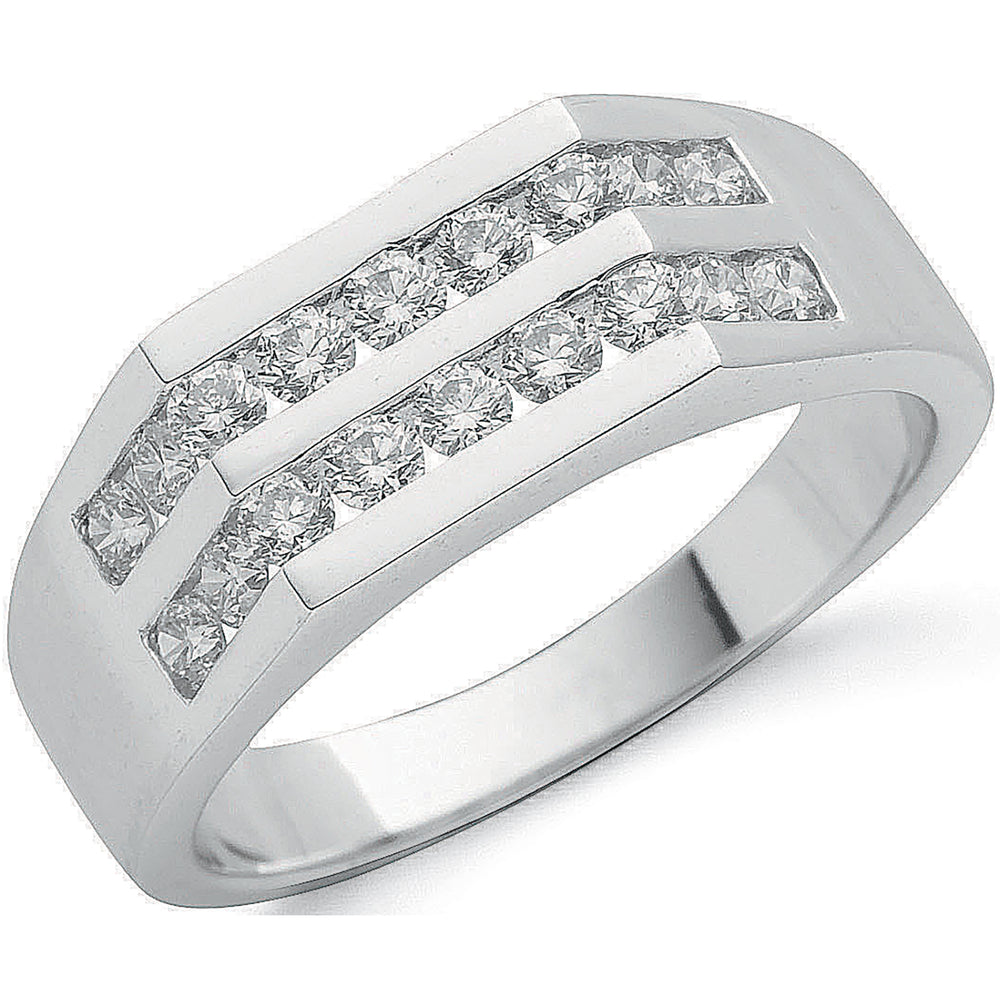 9ct White Gold 1.00ct 2 Row Gents Diamond Ring