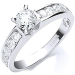 18ct White Gold 1.00ct Brilliant Cut Centre Diamond Ring