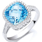 9ct White Gold 0.15ct Diamond & 3.50ct Blue Topaz Ring