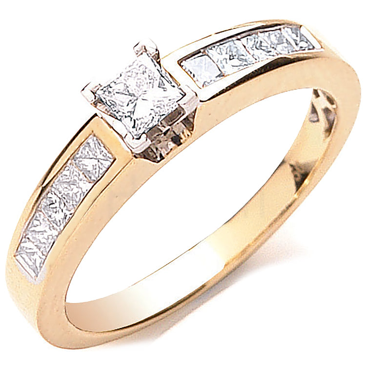 18ct Yellow Gold 0.50ctw Princess Cut Centre Diamond Ring