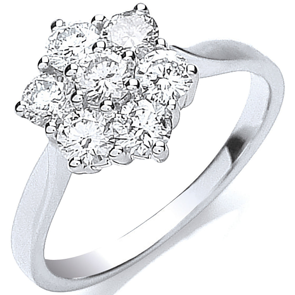 18ct White Gold 7 Stones D.1.00ctw Cluster Diamond Ring
