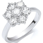 18ct White Gold 7 Stones D.1.50ctw Cluster Diamond Ring