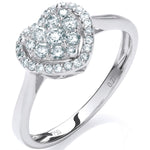 18ct White Gold 0.25ct Diamond Heart Ring