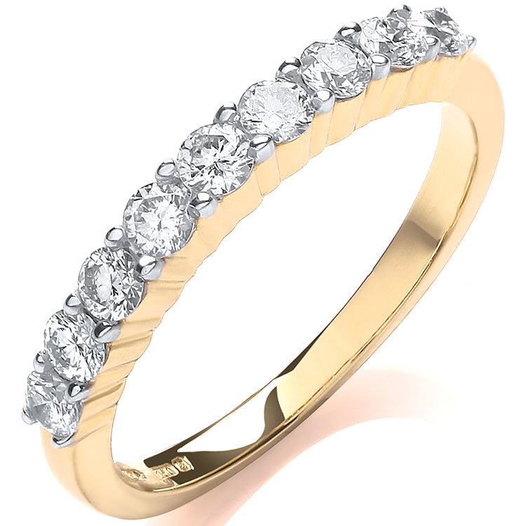 18ct Yellow Gold 0.50ctw Diamond Half Eternity Ring