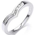 9ct White Gold 0.15ct Diamond Wishbone Ring