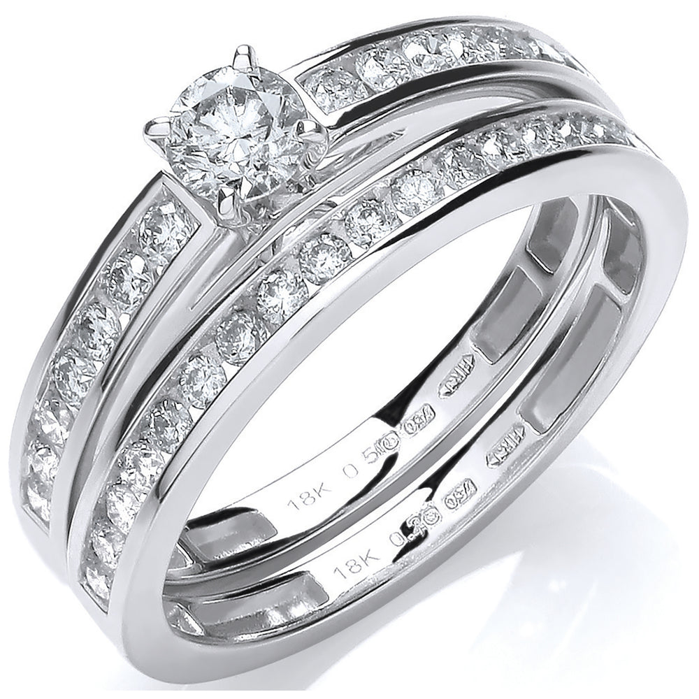 18ct White Gold 0.75ct Bridal Set Rings