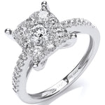 18ct White Gold 1.00ct H-SI Cluster Ring