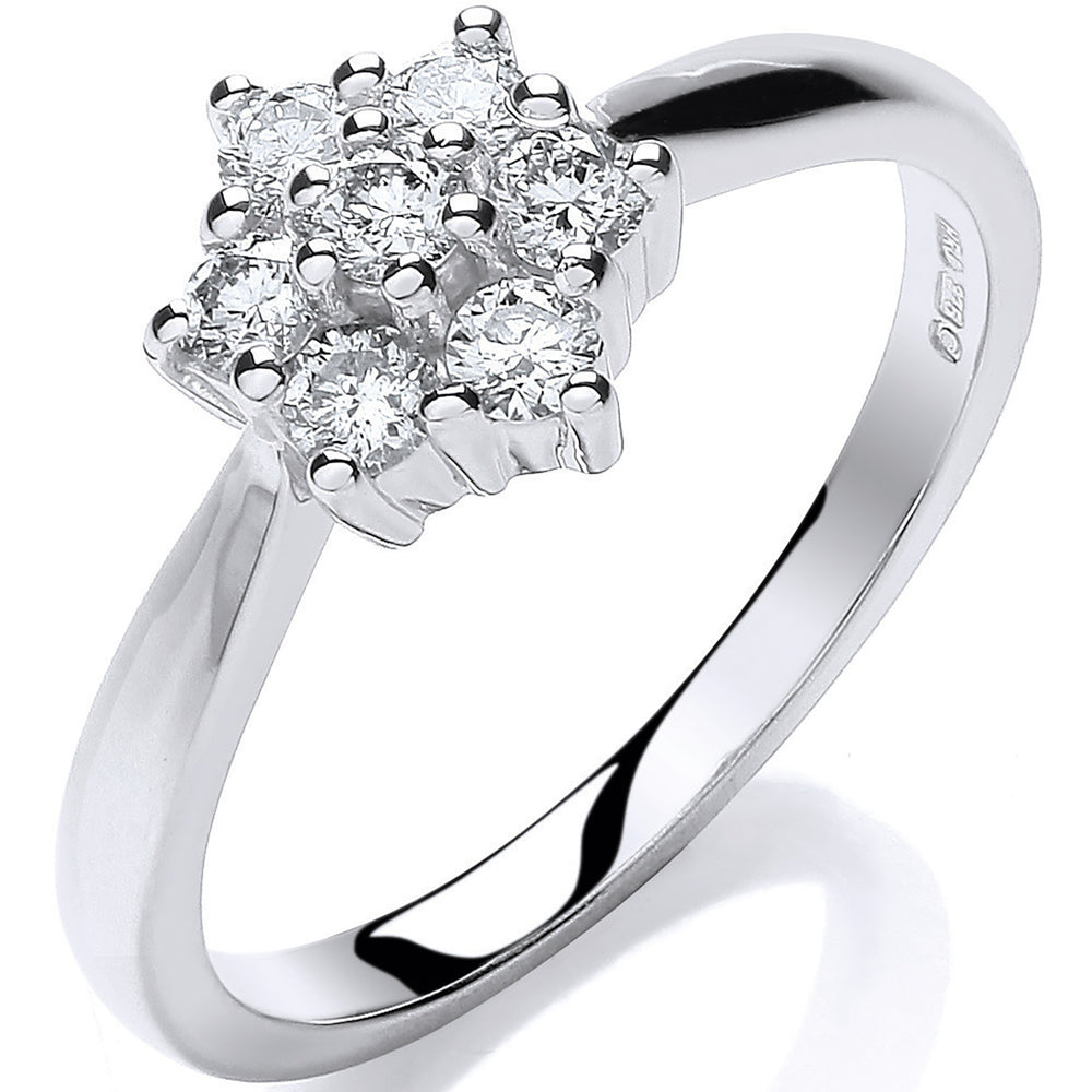 9ct White Gold 0.33ct Diamond 7St Cluster Ring
