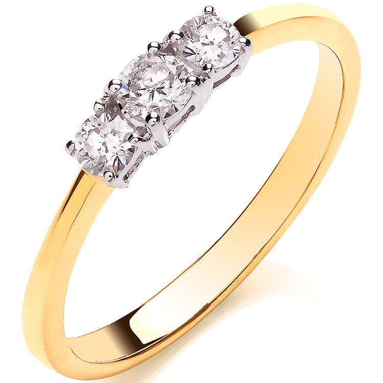 18ct Yellow Gold 0.33ctw Diamond Trilogy Ring