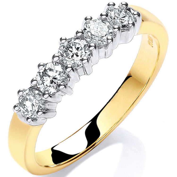 9ct Yellow Gold 0.50ct 5 Stone Diamond Eternity Ring